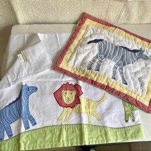 PB Kids Zoo Barn Animals Curtains Pillow Set